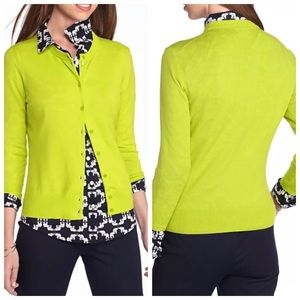 Crown & Ivy Lime Pop Knit Cardigan Size Small